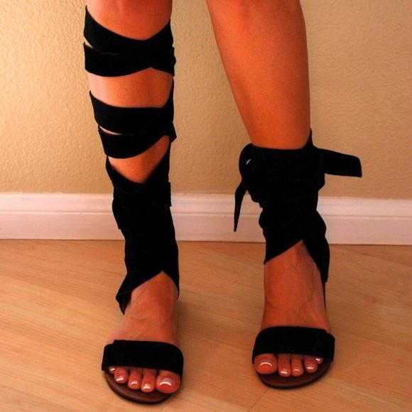 91bd2a28f700d Jeffrey Campbell Shoes - NEW Jeffrey Campbell Tan Suede Wrap Up Sandal