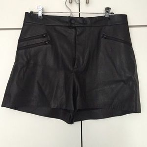Zara Black Leather Shorts