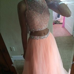 Peach two piece prom dress