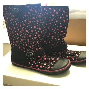Floral pattern short boots