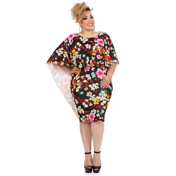 Plus size cape style dress