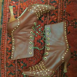Vintage Leather Studded Boots
