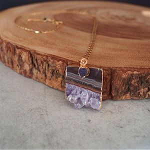 Gold Plated Amethyst Pendant Necklace