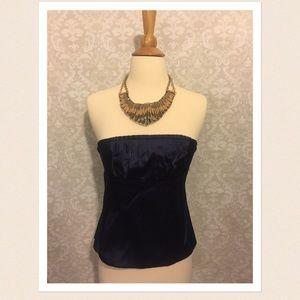 Navy blue silk tube top/corset