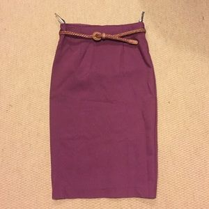 Topshop purple midi skirt with tan braided belt