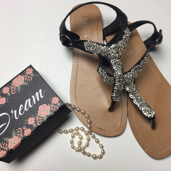 bc31df40380c Guess Shoes - Guess Embellished Flats Crystal Flip Flops 💋