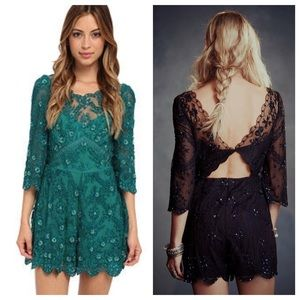 d88e5c9d66a8 Free People Pants - Free People Emerald Songbird Embellished Romper
