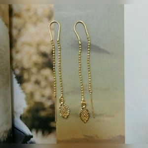 Gold Dangling Leaf Earrings