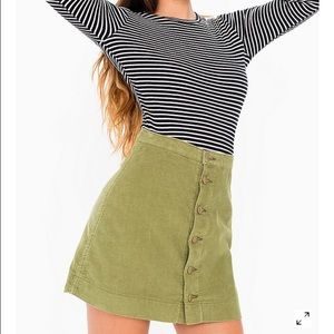 corduroy button front a line skirt