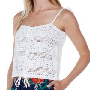 Joie Invidia Crochet Cropped Top Porcelain XS NWT