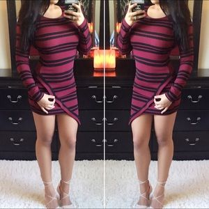 Maroon Polyester Stripped Bodycon Dress