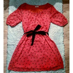 Bagels and Luxe Coral Polka Dot Dress