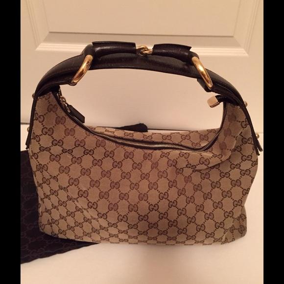 ec3e191b3de Gucci Handbags - Authentic Gucci Monogram Horsebit Hobo Dark Brown