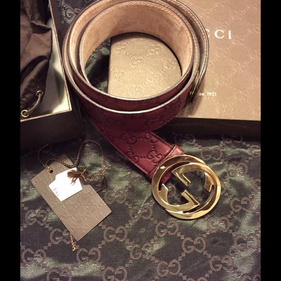 46f7776d2ed Gucci Accessories - Gucci Guccissima Interlocking G Belt Burgundy.