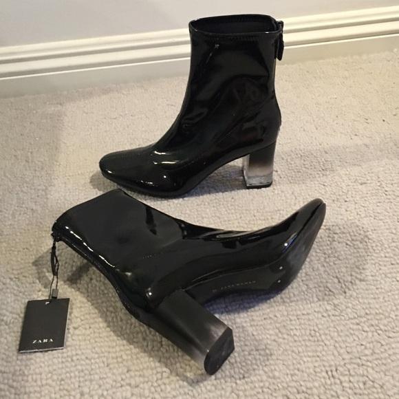 Zara black patent bootie with lucite heel