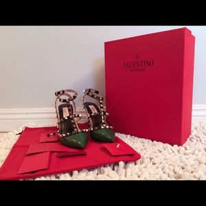 Valentino Shoes - Valentino Rockstud Patent Leather Emerald & Black