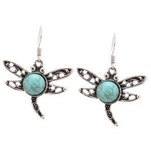 Jewelry - Vintage dragon fly torquise earrings