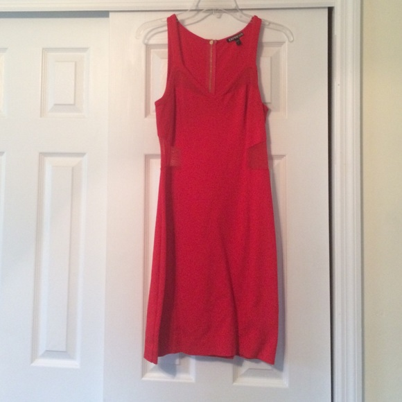 Express Dresses & Skirts - Express Red Dress with Mesh Panels