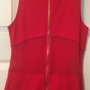Express Dresses - Express Red Dress with Mesh Panels