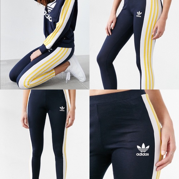 707a631610b8af Adidas Pants | Originals Navy Yellow Leggings | Poshmark