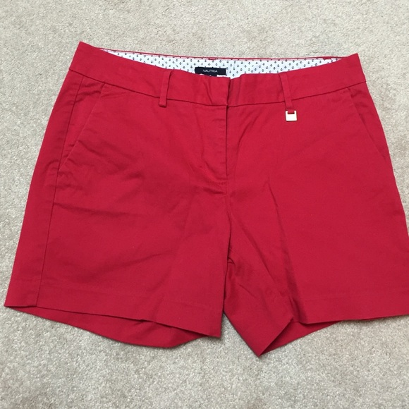89% off Nautica Pants - Nautica red cotton women's shorts, worn ...