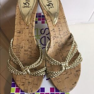 Size 8.5 Gold Braided Heeled Sandals