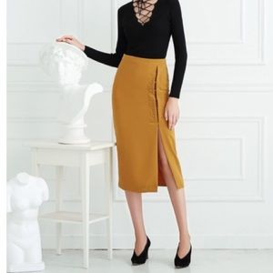 123a813134 Few Moda Skirts | Mustard Pencil Skirt With High Slit | Poshmark