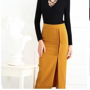 Few Moda Dresses & Skirts - Mustard Pencil Skirt with High Slit