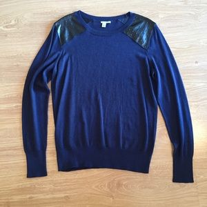 Halogen Sweaters - Halogen Navy Leather Patch Sweater