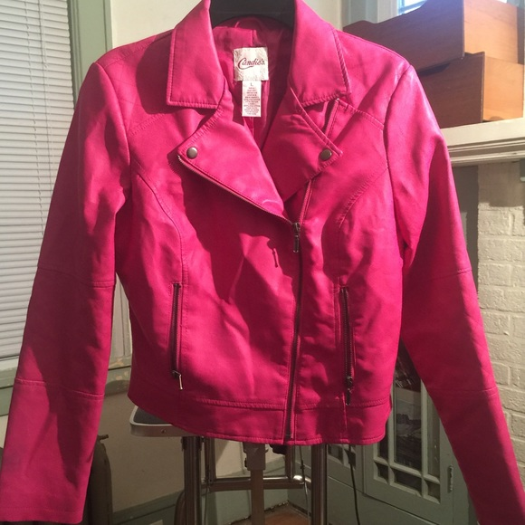 55% off Candie's Jackets & Blazers - Hot Pink Faux Leather Moto ...
