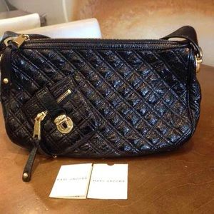 Marc Jacobs Black Patent Leather Quilted Handbag