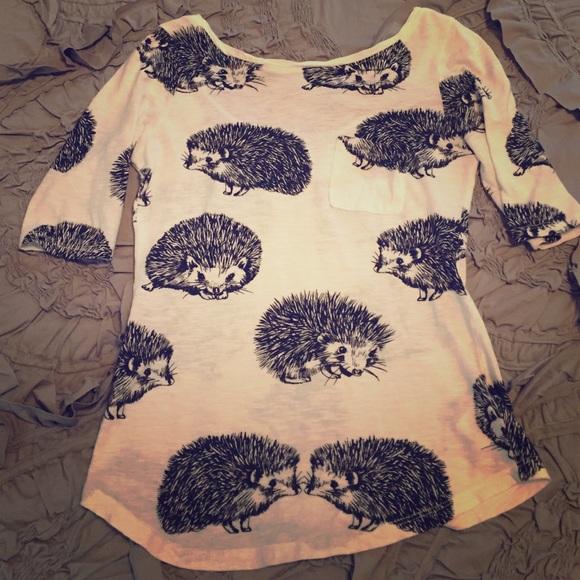 72d942d5 Anthropologie Tops   Short Sleeve Hedgehog Pocket Tee   Poshmark