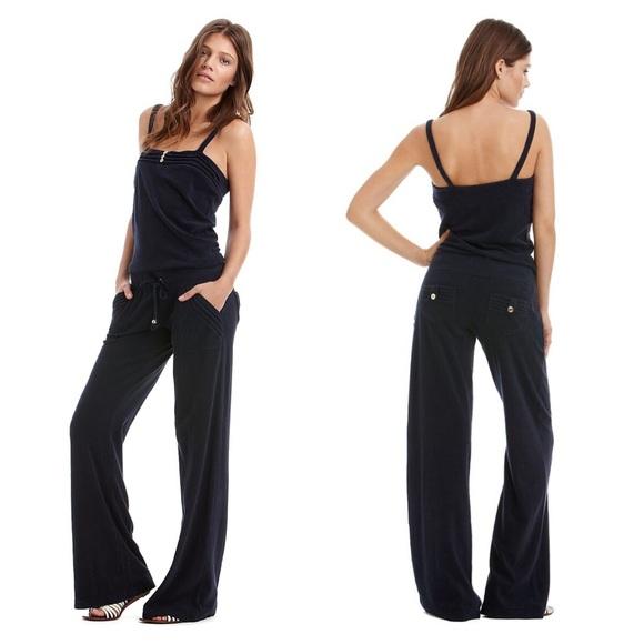 80a9e21d76e Juicy Couture Pants - Juicy Couture navy blue terry jumpsuit romper