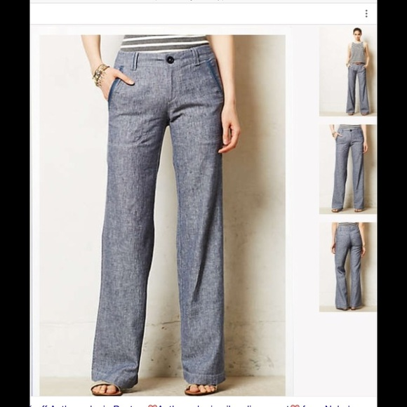 76% off Anthropologie Pants - Pilcro Wide Leg Linen Chambray Pants ...