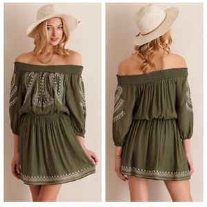 Dresses & Skirts - Olive off the shoulder dress