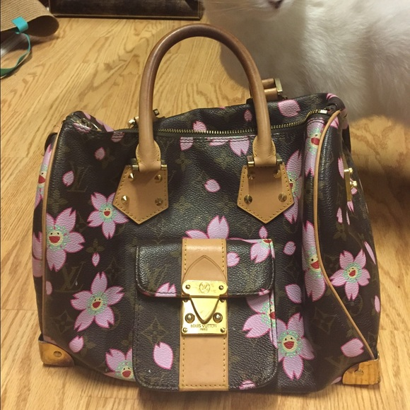 60% off Handbags - Imitation Louis Vuitton with pink flowers from ...
