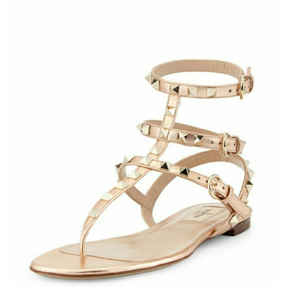 6c5a8356939b Valentino rock-stud gladiator sandals rose gold