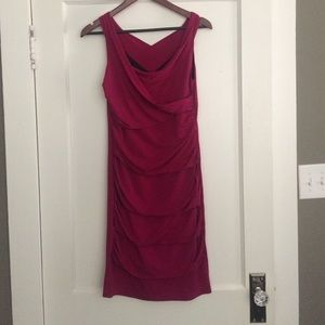 Stunning Deep Fushia Ruched Cocktail Dress