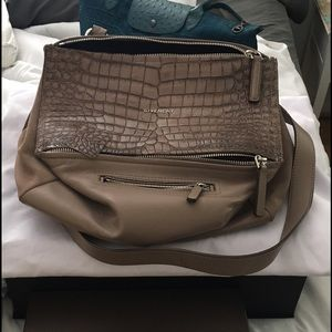 Givenchy Handbags - Croc-stamped Pandora Beige Cross Body Bag pre love