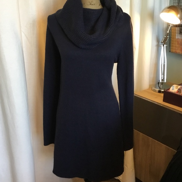 Hm Navy Cowl Neck Sweater Dress