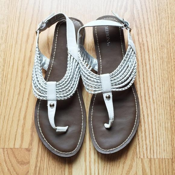 58137196c531fd White and Silver Merona Sandals. M 56eefd12bcd4a739fa05e58e
