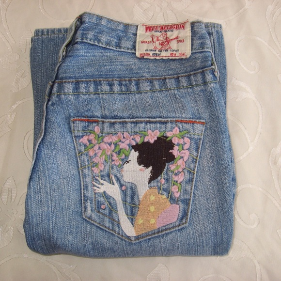 True religion geisha bobby embroidered