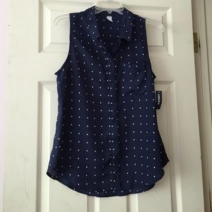 Old Navy Square Print Navy Collared Blouse
