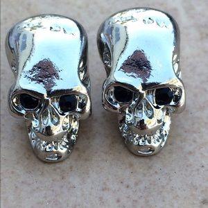 Silver Tone Black Crystal Skull Stud Earrings