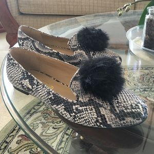Shoes - Pom Pom snake print loafers