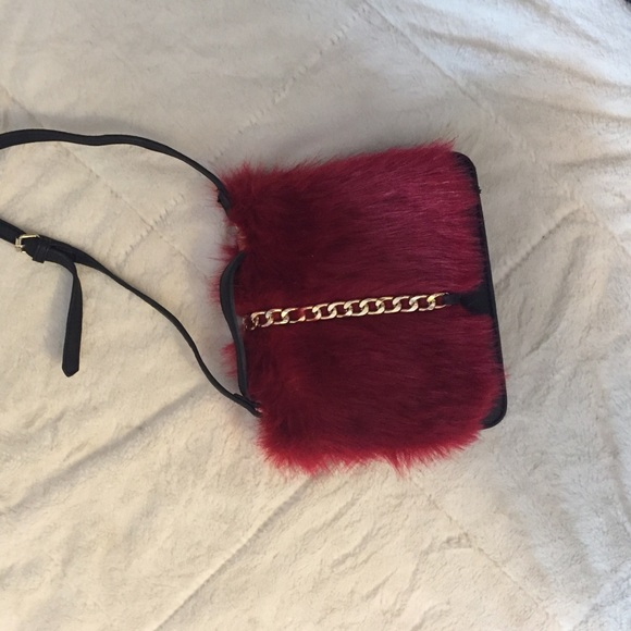 Bags - Red Faux Fur Handbag!