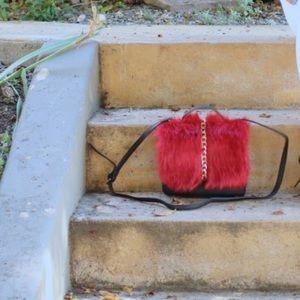 Red Faux Fur Handbag!