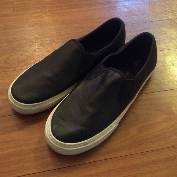 GAP Shoes | Gap Black Faux Leather Slip