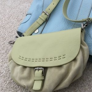 Lime suede & leather bag