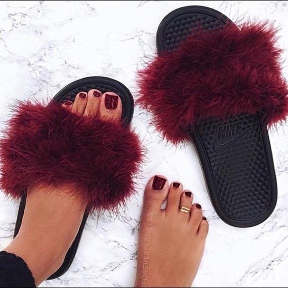Nike Shoes | Nike Faux Fur Sandals